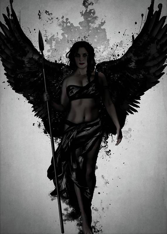 Valkyrie Art Print featuring the mixed media Dark Valkyrja by Nicklas Gustafsson