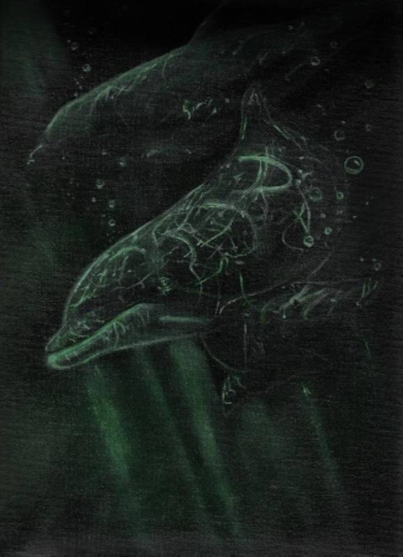 Dolphins Water Underwater Fish Sea Animals Ocean Freshwater Swimming Art Print featuring the painting Dolphins 2 by Raymond Doward