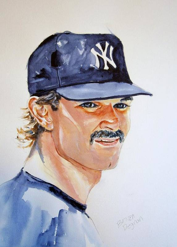 Mattingly Print featuring the painting Don Mattingly by Brian Degnon