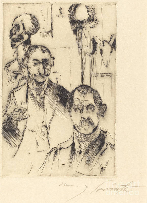 Art Print featuring the drawing Double Portrait With Skeleton (doppelbildnis Mit Skelett) by Lovis Corinth