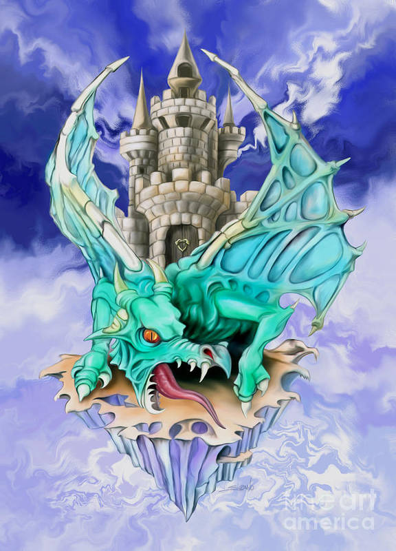 Spano Art Print featuring the painting Dragons Keep By Spano by Michael Spano