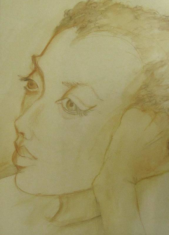 Sepia Portrait Of A Woman Entitled 'dreamy'. Watercolor On 300# Art Print featuring the painting Dreamy by Georgia Annwell