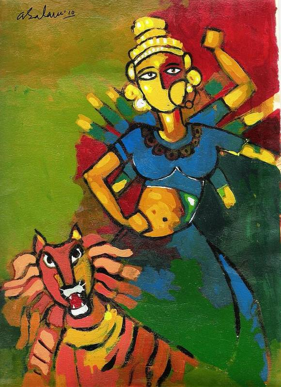 Maa Durga Art Print featuring the painting Durga by Abdus Salam