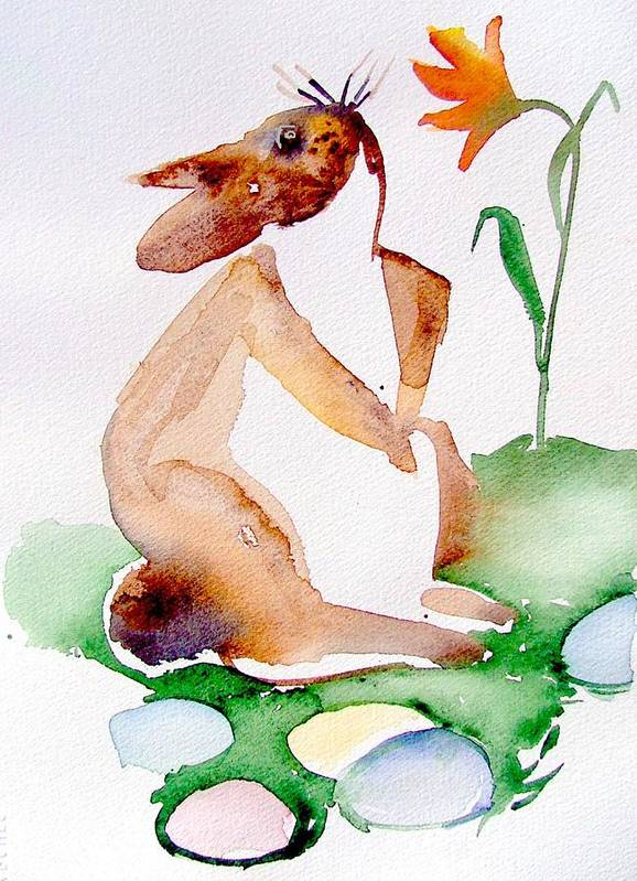 Bunny Art Print featuring the painting Easter Bunny by Mindy Newman