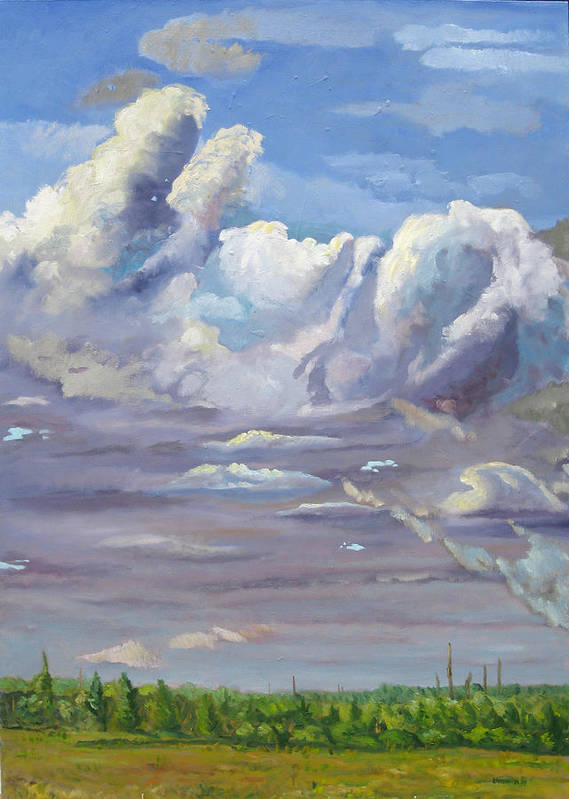 Clouds Art Print featuring the painting Eastern Flagler County Cloud Series IIi by D T LaVercombe