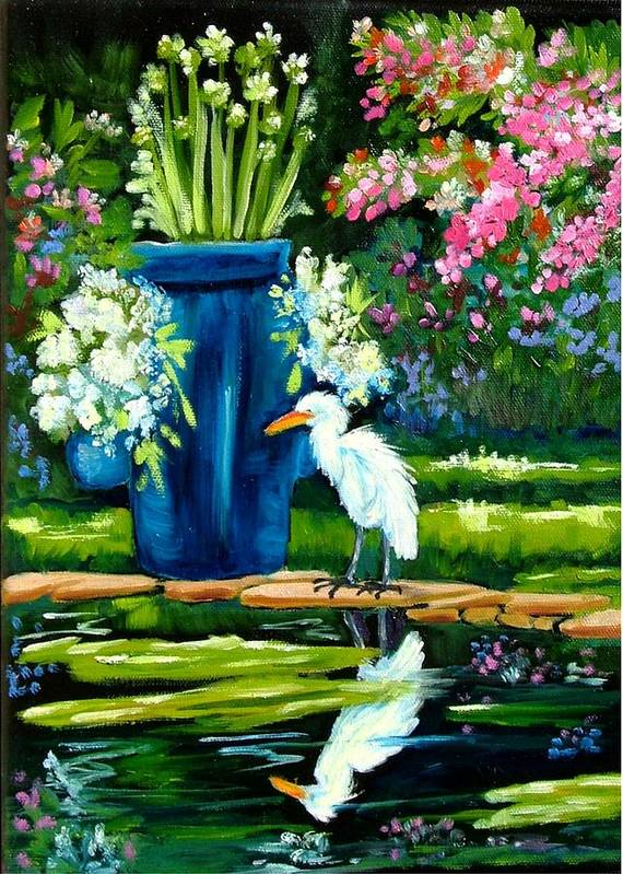 Florida Edison Estate Egret Tropical Pool Water Flowers Vase Lily Pads Animals Vases Blue Prints Birds Wading Birds Egrets Flowers Pink Blue Lavendar Water Pool Art Print featuring the painting Egret Visits Goldfish Pond by Carol Allen Anfinsen