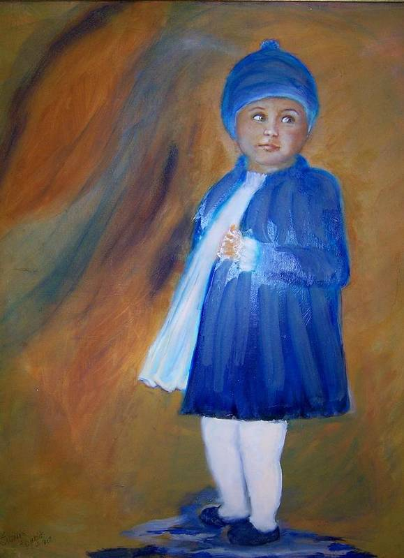 Portrait Of A Little Girl Caught In The Rain Art Print featuring the painting Elizabeth by Suzanne Reynolds