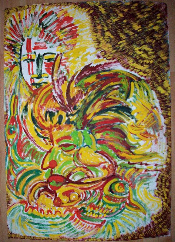 Ethnic Art Print featuring the painting Ethnic by Helene Champaloux-Saraswati