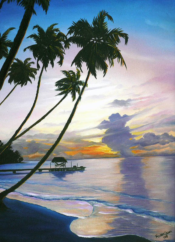 Ocean Painting Seascape Painting Beach Painting Sunset Painting Tropical Painting Tropical Painting Palm Tree Painting Tobago Painting Caribbean Painting Original Oil Of The Sun Setting Over Pigeon Point Tobago Art Print featuring the painting Eventide Tobago by Karin Dawn Kelshall- Best