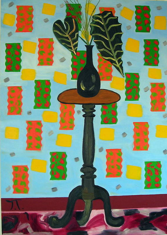 Tropical Plant Art Print featuring the painting Exotic Plant On Stand by Troy Thomas