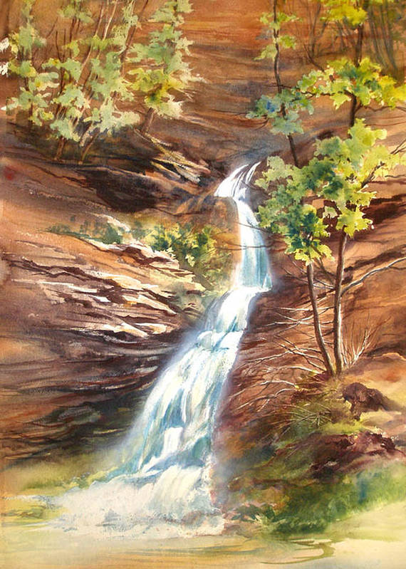 Water Falls;rocks;trees;hocking Hills;watercolor Painting; Art Print featuring the painting Falls At Hocking Hills by Lois Mountz