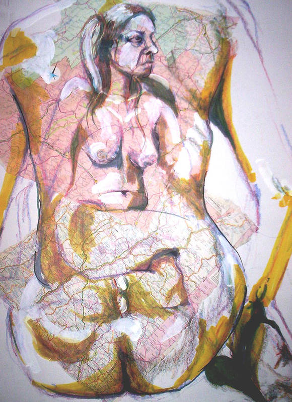 Nude Art Print featuring the drawing Female Nude by Dannielle Murphy