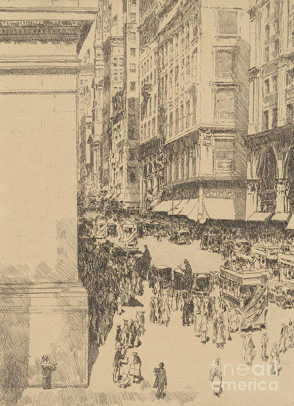 Childe Hassam Art Print featuring the drawing Fifth Avenue, Noon, 1916 by Childe Hassam