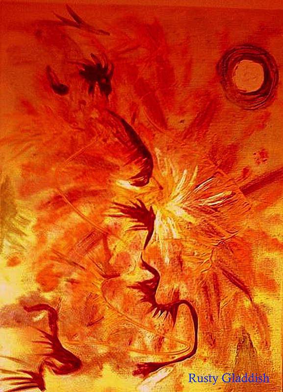 Abstract Art Print featuring the painting Firebrand by Rusty Woodward Gladdish