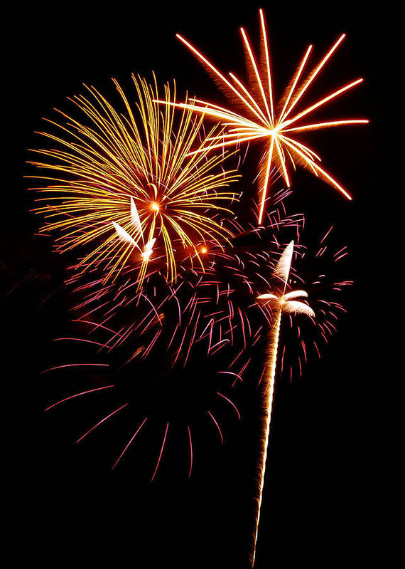 Fireworks Print featuring the photograph Fireworks 1 by Michael Peychich