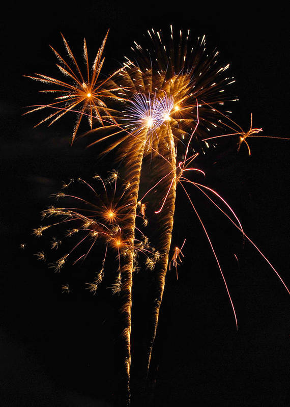 Fireworks Print featuring the photograph Fireworks 2 by Michael Peychich