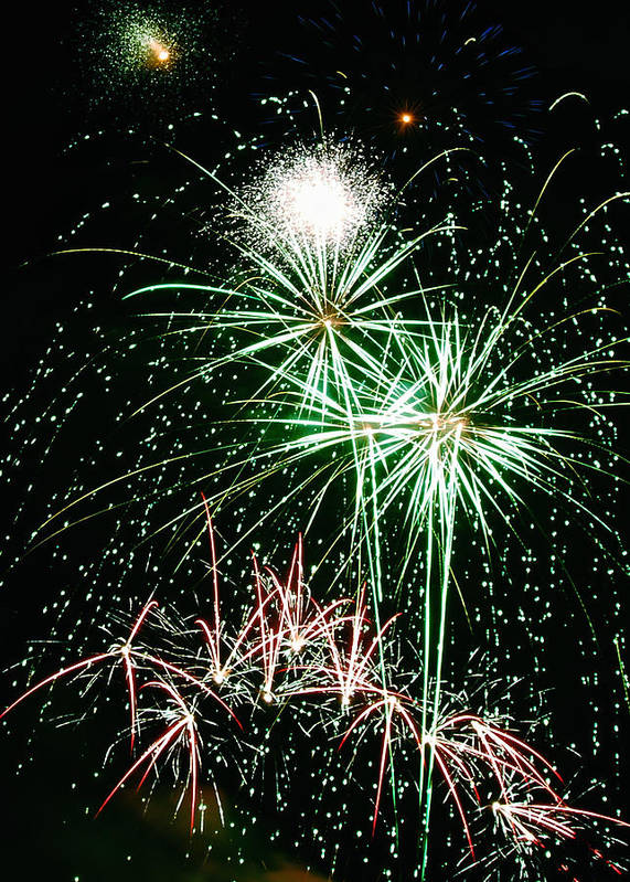 Fireworks Art Print featuring the photograph Fireworks 4 by Michael Peychich