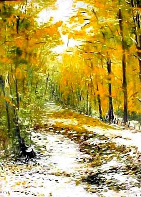 Landscape Art Print featuring the painting First Snow by Boris Garibyan