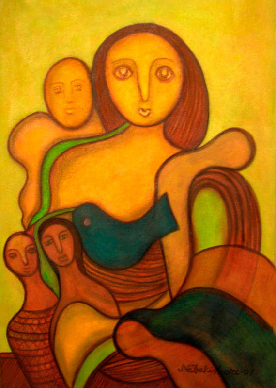 Abstract Art Art Print featuring the painting Fleeting Blesses by Nabakishore Chanda