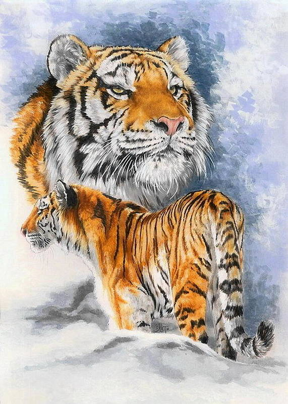 Big Cats Art Print featuring the mixed media Forceful by Barbara Keith