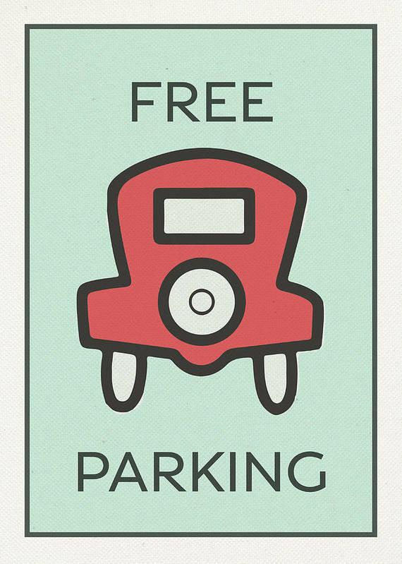 free parking vintage monopoly board game theme card art print by