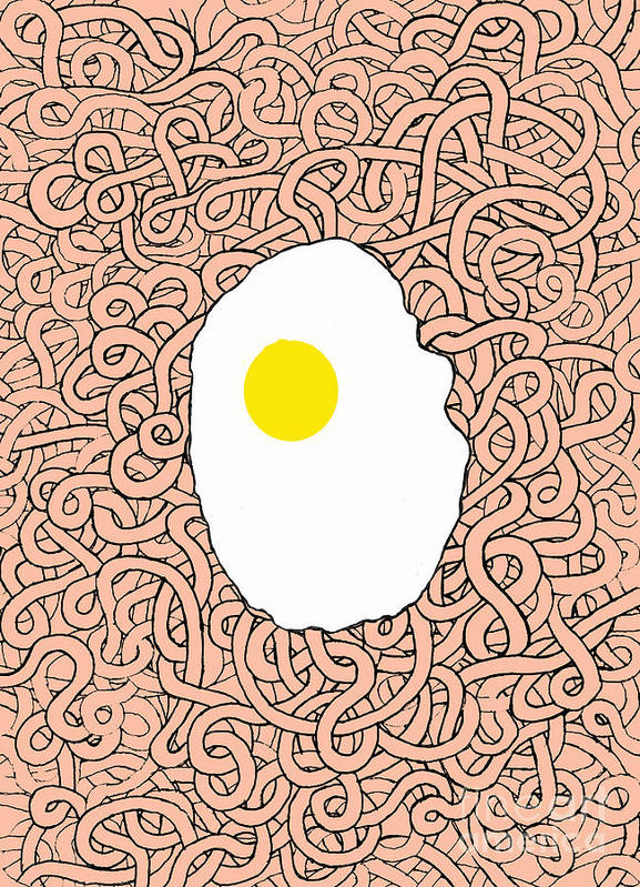 Egg Art Print featuring the digital art Fried Egg And Spaghetti In Tomato Sauce by Andy Mercer