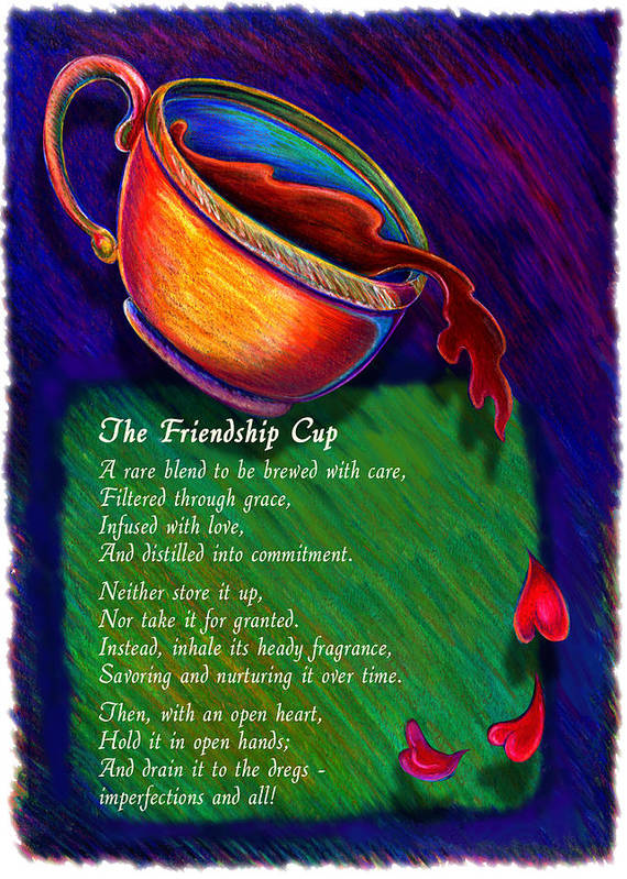 Coffee Art Print featuring the drawing Friendship Cup by Anne Nye