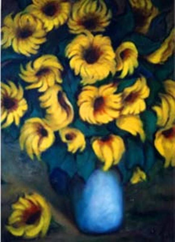 Sunflowers Artwork Art Print featuring the painting Fun Sun Flowers by Jordana Sands