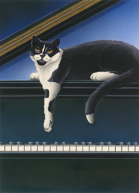 Black And White Cat Art Print featuring the painting Fur Neil - Cat On Piano by Carol Wilson