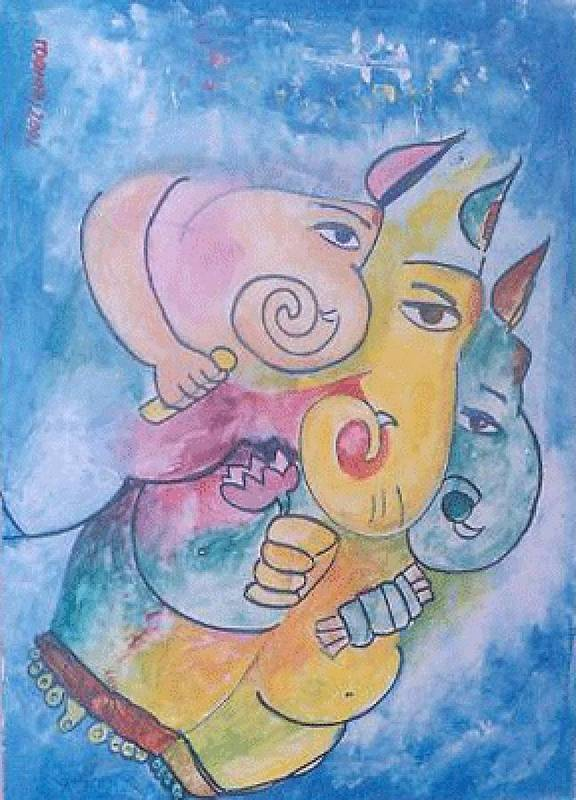 Painting Art Print featuring the painting Ganesha by Rooma Mehra