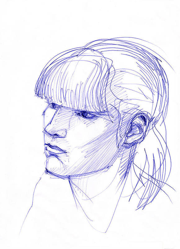 Fringe Art Print featuring the drawing Girl With A Fringe by Natoly Art