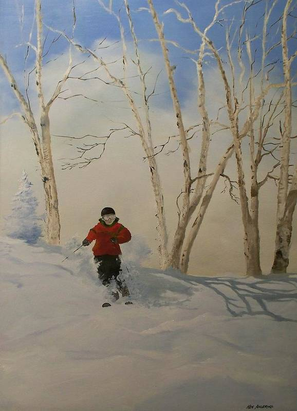 Skiing Art Print featuring the painting Glades by Ken Ahlering