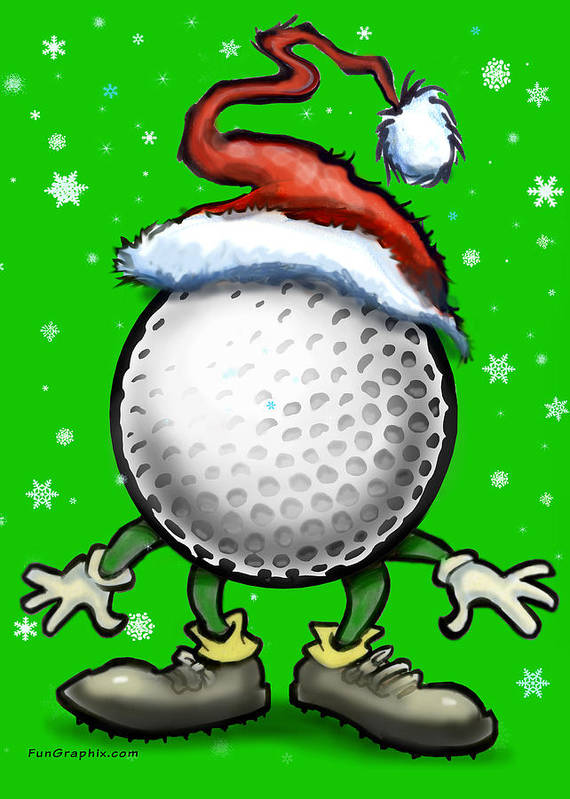 Golf Art Print featuring the digital art Golf Christmas by Kevin Middleton
