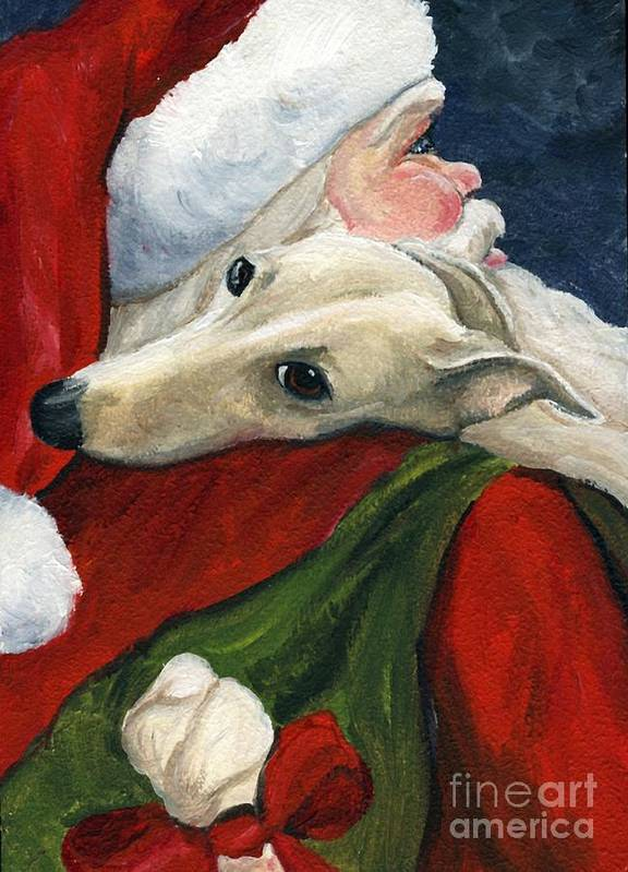 Dog Art Print featuring the painting Greyhound And Santa by Charlotte Yealey