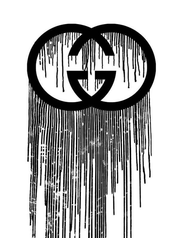 e14c4bd3 Gucci Print Black Art Print by Del Art