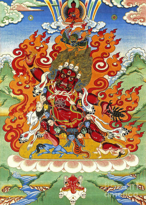 Thangka Art Print featuring the painting Guru Dragpo by Sergey Noskov