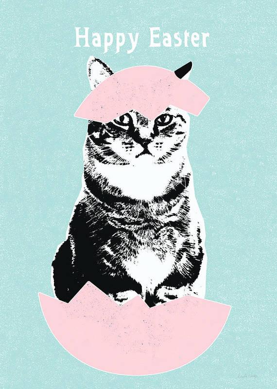 Cat Art Print featuring the digital art Happy Easter Cat- Art By Linda Woods by Linda Woods