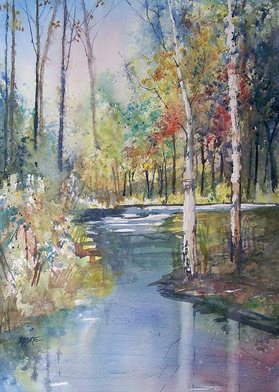 Ryan Radke Art Print featuring the painting Hartman Creek Birches by Ryan Radke