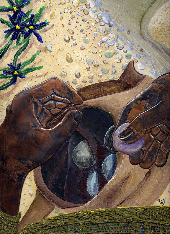 Bible Art Art Print featuring the painting He Chose Him Five Smooth Stones by Dan RiiS Grife
