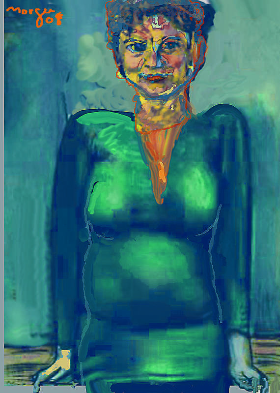 Portrait Art Print featuring the painting Helloo by Noredin Morgan