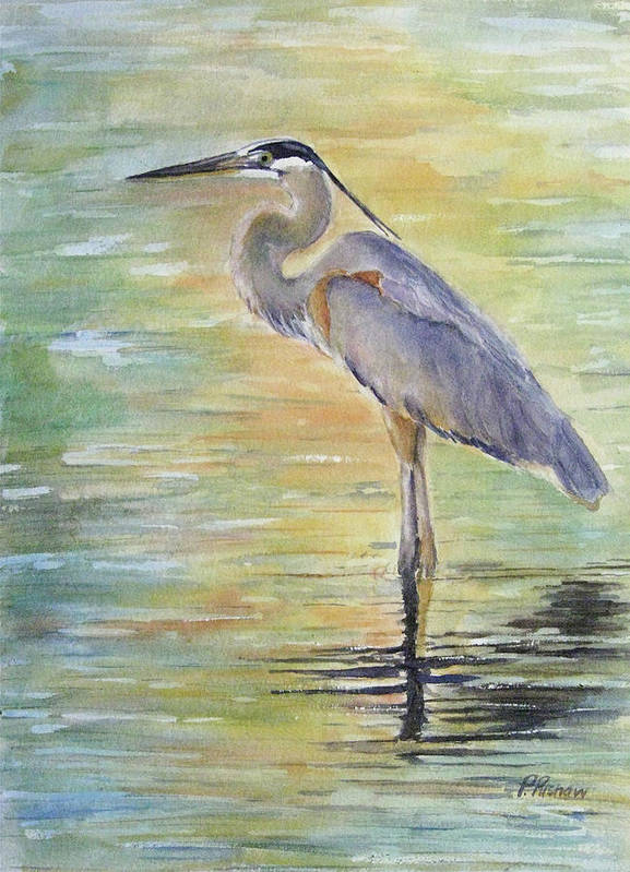 Great Blue Heron Art Print featuring the painting Heron At The Lagoon by Patricia Pushaw