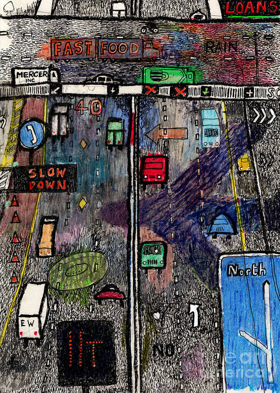 Highway Art Print featuring the drawing Highway by Andy Mercer