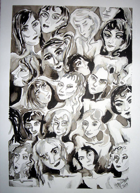 Women Art Print featuring the painting His Girls by Jenni Walford