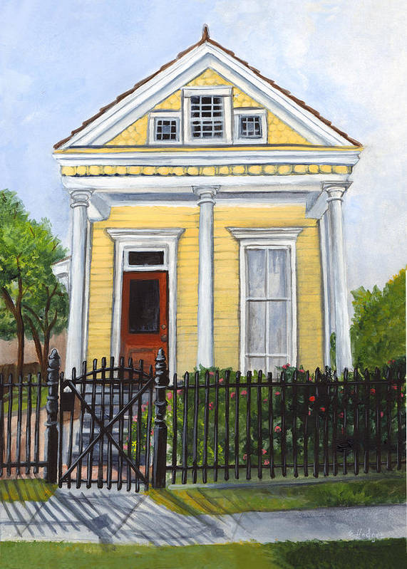 House Paintings Art Print featuring the painting Historic Louisiana Cottage by Elaine Hodges