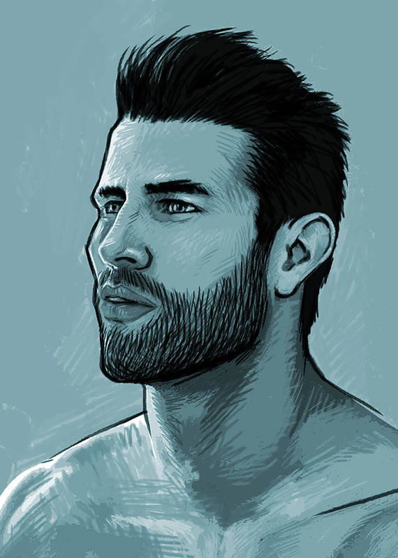 Man Art Print featuring the painting Hunk by Bad Robin