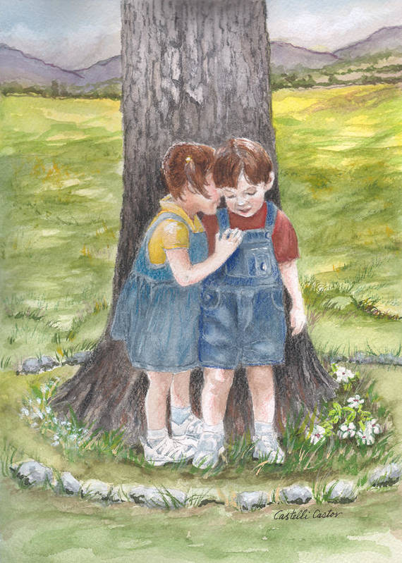 Children Art Print featuring the painting I'll Tell You A Secret by JoAnne Castelli-Castor