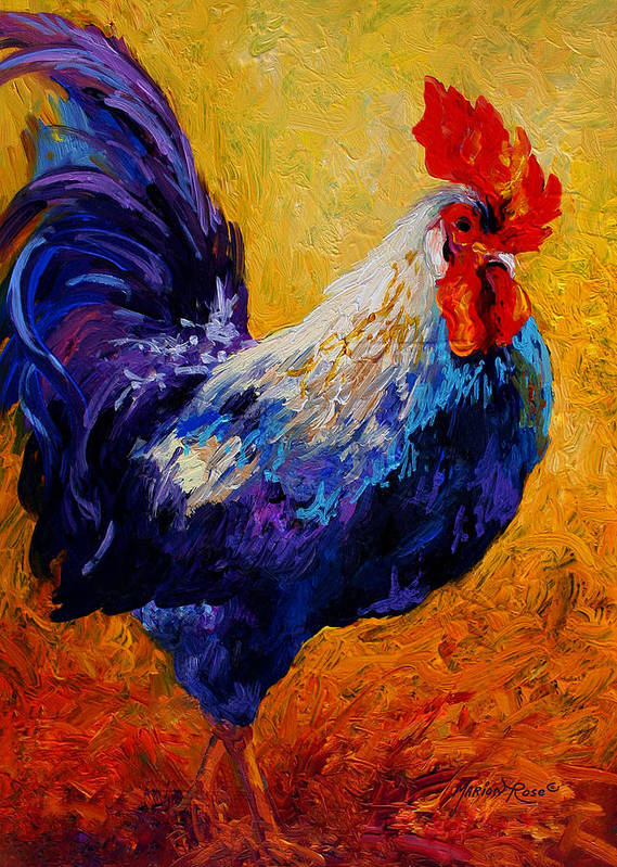 Rooster Art Print featuring the painting Indy - Rooster by Marion Rose
