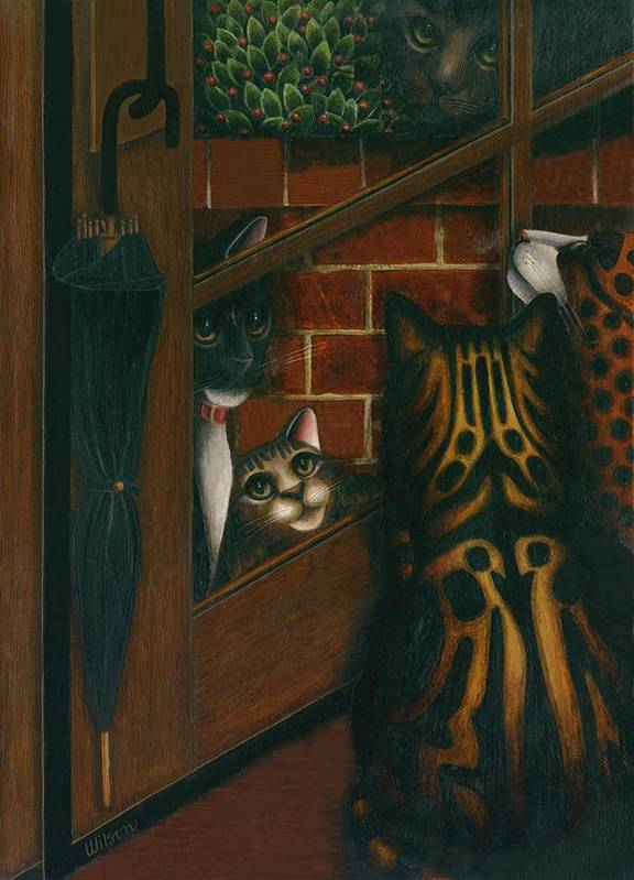 Black And White Tuxedo Cat Art Print featuring the painting Inside Outside Cats by Carol Wilson