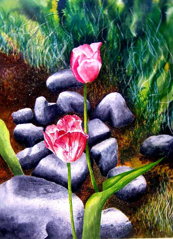 Tulips Art Print featuring the print Isaiah's Tulips by JoLyn Holladay