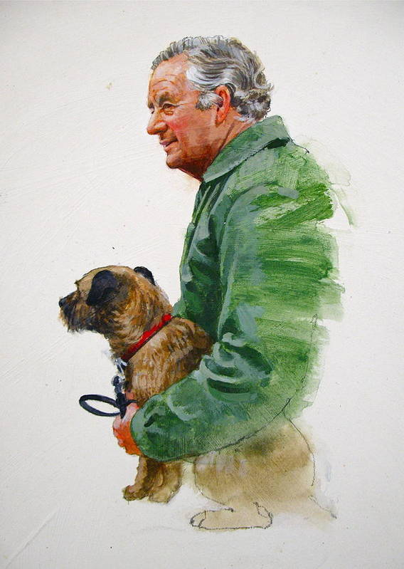 Portrait Art Print featuring the painting James Herriot And Bodie by Cliff Spohn